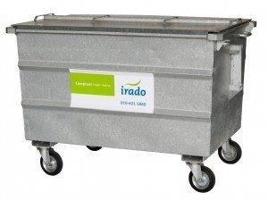 1000 liter stalen container – 167 x 92 x 122 cm (lxbxh) voor ca. 25 vuilniszakken