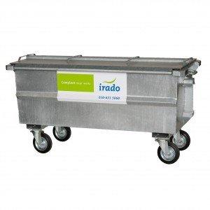 500 liter stalen container – 167 x 75 x 90 cm (lxbxh) voor ca. 12 vuilniszakken